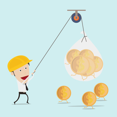 pulley: Business man use the rope pull money
