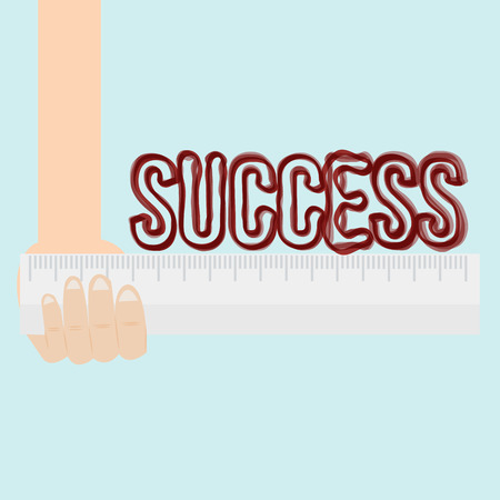 accomplishes: Measure of success conceptual using ruler  Illustration