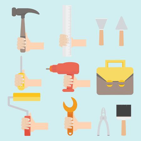 Vector illustration of tool set in flat design  Vector