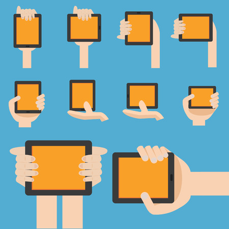 digitizer: Hand hold mobile device in flat design