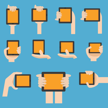 digitizer: Hand hold mobile device in flat design  Illustration