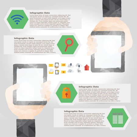 Vector tablet infographic element in polygon design for technology and internet
