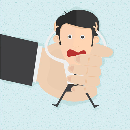 oppress: Businessman in big hands. You can remove background and shadow. All parts are vector and editable Illustration