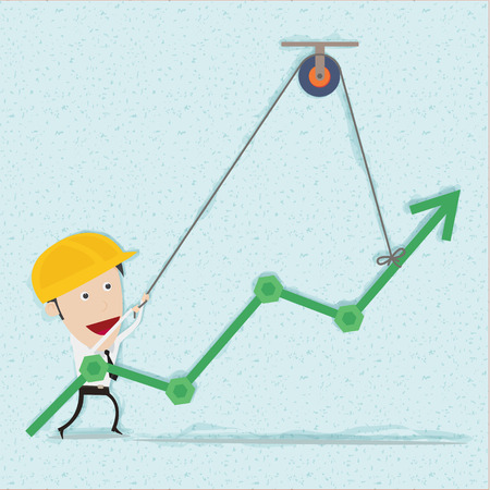 pulley: Business man and engineer try to build graph. You can remove background and shadow. All parts are vector and editable.