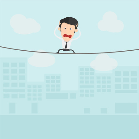 tightrope walker: Businessman walking on a rope