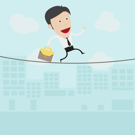 tightrope: Businessman walking on a rope