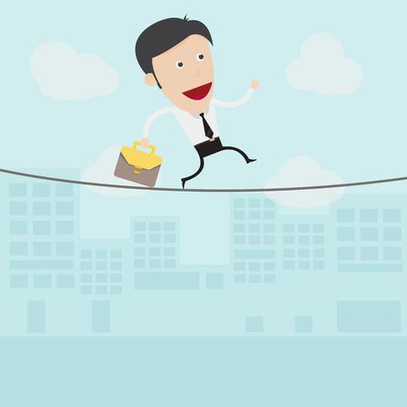 rope walker: Businessman walking on a rope