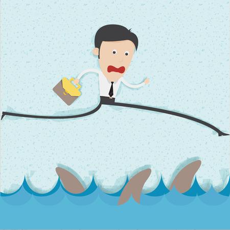 ビジネスマンのリスク管理の概念。背景と影を削除することができます。すべての部分がベクトルと編集可能。   イラスト・ベクター素材