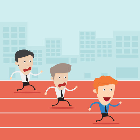 Concept of successful businessman in a finishing line  Vector