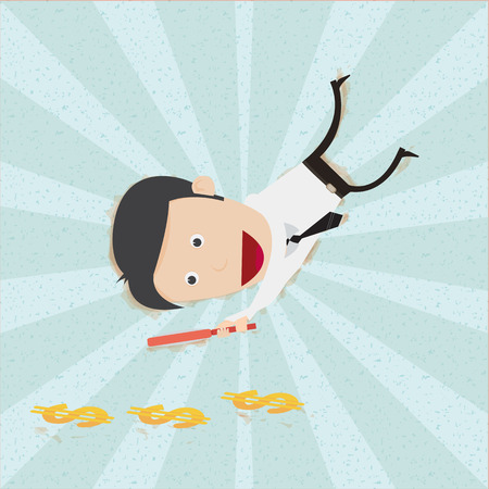 Businessman find money footprint, You can remove background and shadow. All parts are vector and editable.  Vector