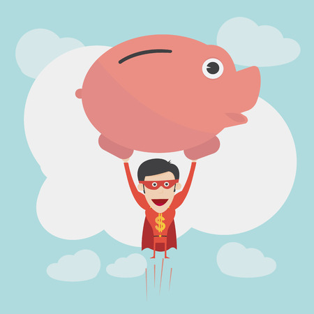 quick money: Super money man for business and finance concept Illustration