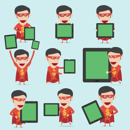 Super money hero present information on mobile device  Stock Vector - 28446247
