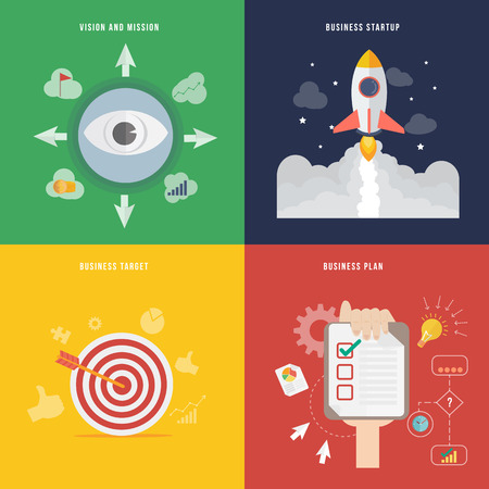 mision: Elemento del concepto de desarrollo de negocios icono de diseño plano