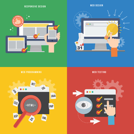 Element of web development concept icon in flat design Stok Fotoğraf - 28643247