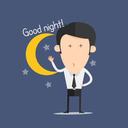 good night: Buen hombre de la noche Vectores