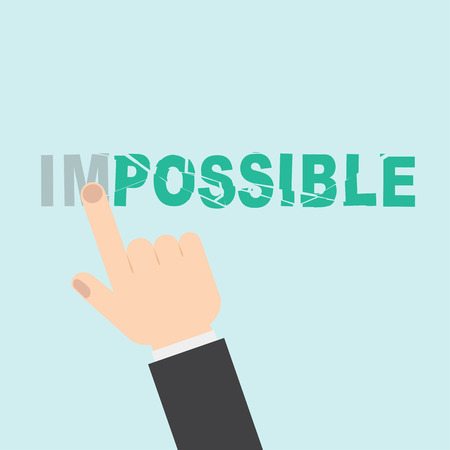 achievable: Hand turning the word Impossible into Possible