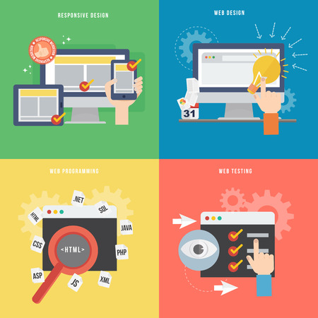 Element of web development concept icon in flat design  Vector