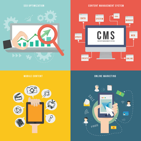 content management: Element of SEO CMS mobile and marketing concept icon in flat design