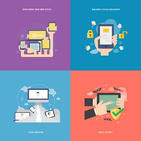 protecting your business: Elemento de icono concepto de la tecnolog�a m�vil en dise�o plano