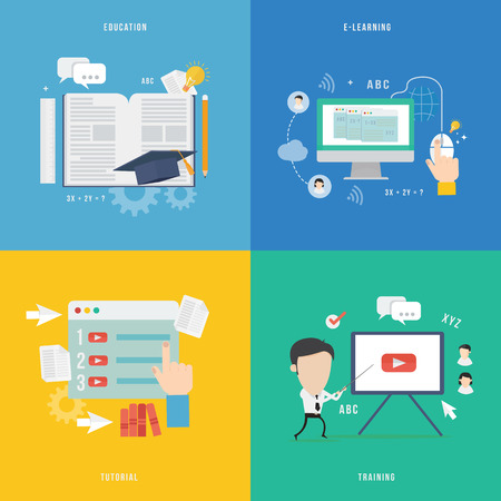 educaci�n en l�nea: Elemento de la educaci�n, tutorial, icono concepto traning en dise�o plano Vectores