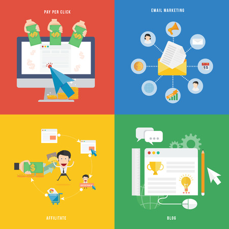 Element of E-commerce, Pay per click marketing and affiliate concept icon in flat design