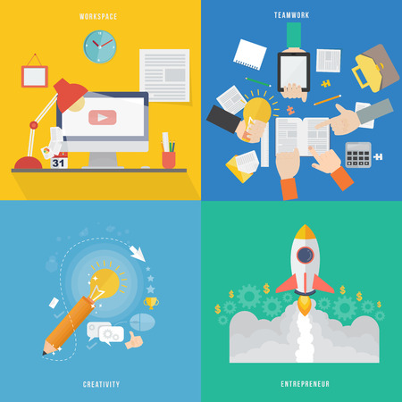Element of workspace, creative, teamwork and entrepreneur concept icon in flat design  Vector