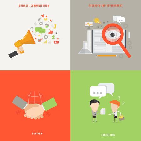 ビジネス コミュニケーションの要素を参照してください、フラットなデザインでパートナー概念アイコン