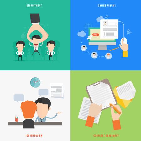 Elemento di HR processo di reclutamento concetto di icona nel design piatto Vettoriali