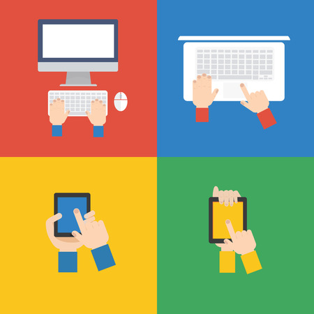 Element of Ecomputer and touch screen concept icon in flat design  Illustration