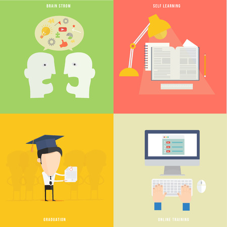 Element of education, tutorial, traning concept icon in flat design  Vector