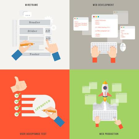フラットなデザインのウェブ開発コンセプト アイコンの要素