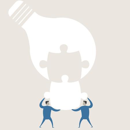 cartoon light bulb: Vector illustration of a creative young cartoon businessman and light bulb