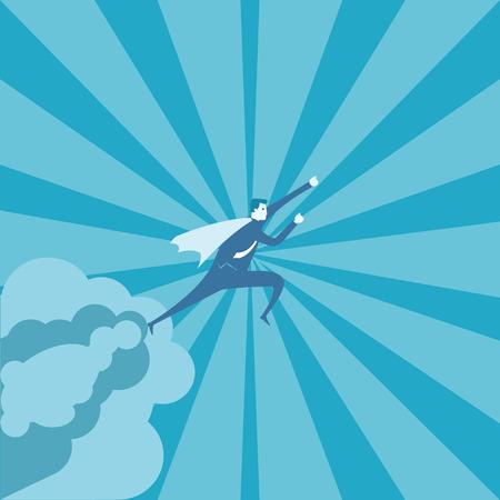 ビジネスの男性の空で飛ぶ