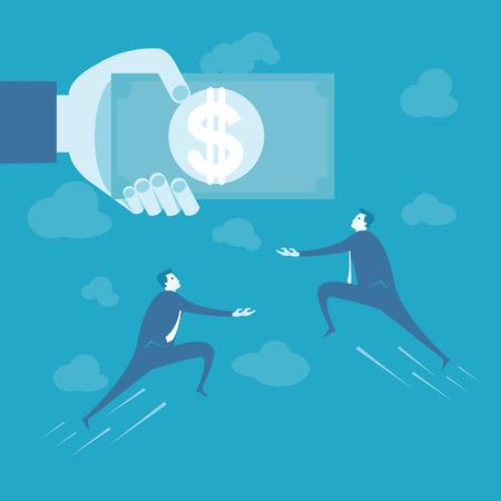 salary man: Business man fly to catch money  Illustration