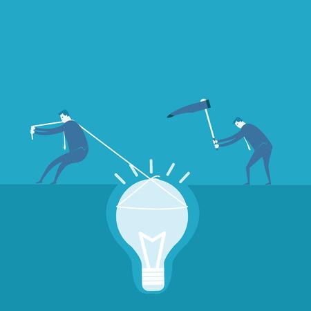 bedrock: Business man dig the idea concept  Illustration