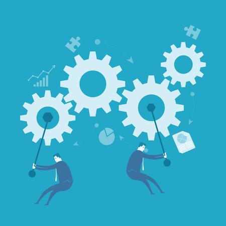 L'homme d'affaires tourner la roue, l'amélioration des processus