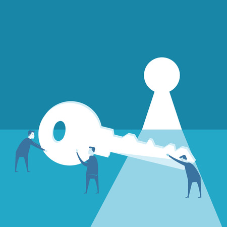 Businessman try to use key against opened wall an keyhole  Vector