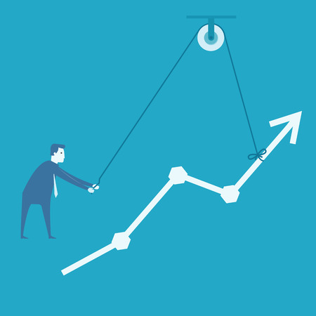 pulley: Business man and engineer try to build graph   Illustration