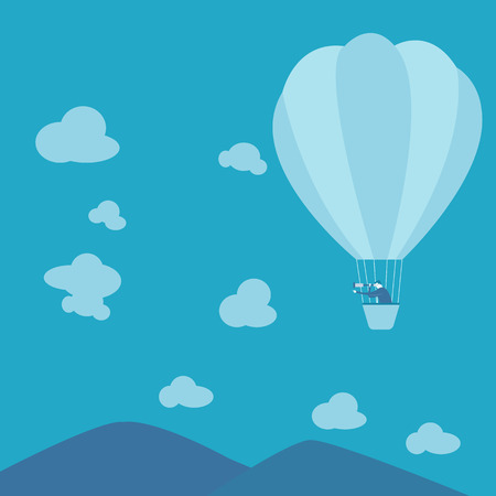 Businessman looking for business ina hot-air balloon  Vector