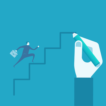 businessman run on drawing stairs