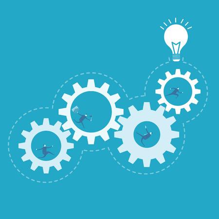 proceso: Hombre de negocios que girar el engranaje, la mejora de procesos Vectores