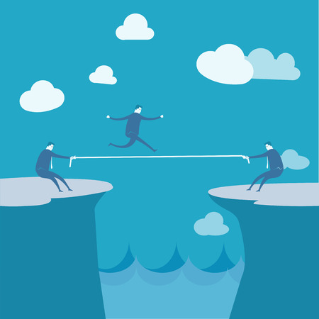 careless: Businessmen Pulling together on a cliff