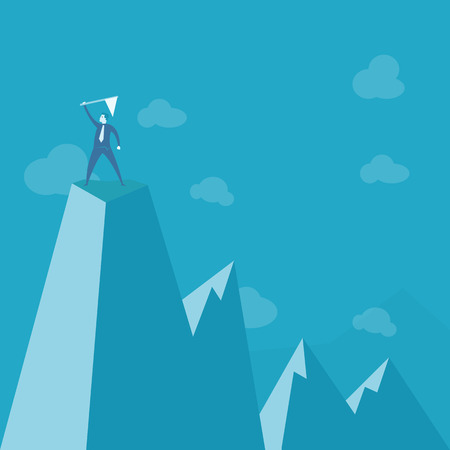 pico: empresario de pie en la cima de la monta�a Vectores