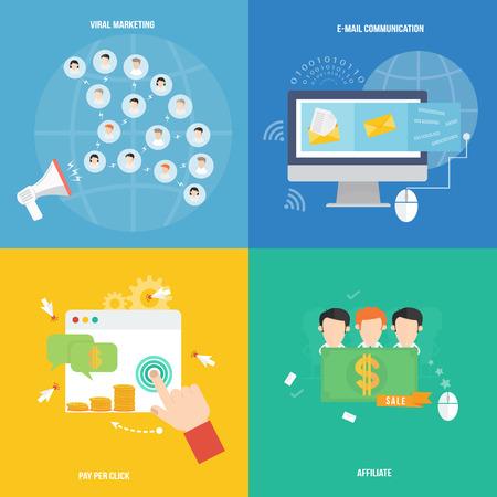 社会的なマーケティングのアイコン フラットなデザインの要素  イラスト・ベクター素材
