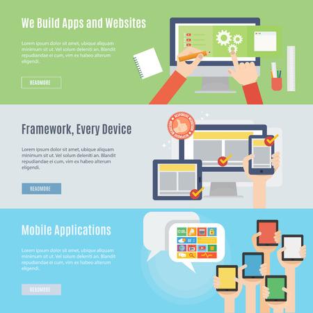 ウェブサイトとフラットなデザインの携帯電話のアイコンの要素