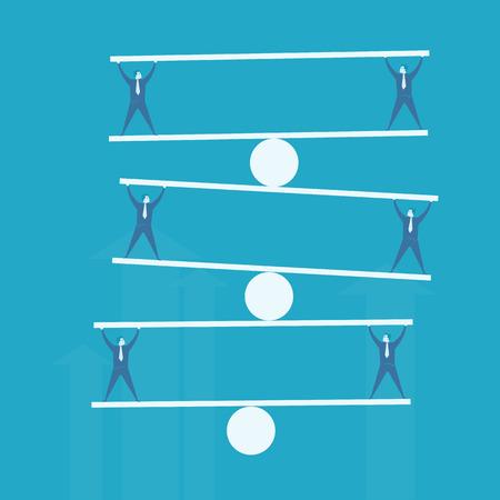 perfection: Business man balance beam  Illustration