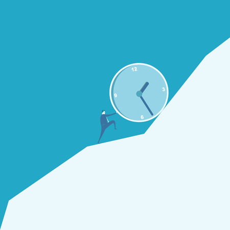 sisyphus: Business man pushing a huge clock up hill  Illustration