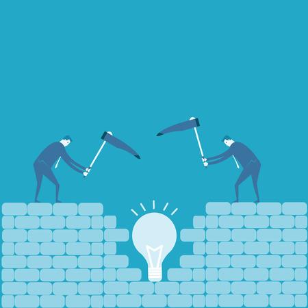 bedrock: Business man dig an idea  Illustration