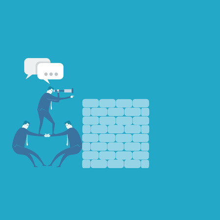 far: Business team look far for new business  Illustration