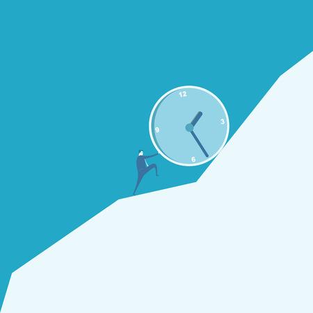 sisyphus: Business man pushing a huge clock up hill  Illustration